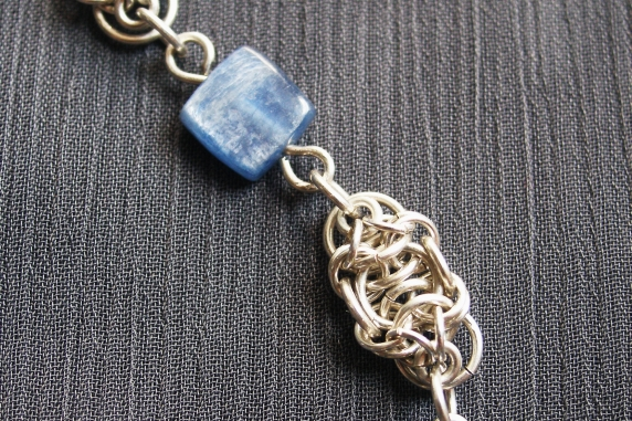 Sterling silver and Kyanite Celtic Raindrops chainmaille bracelet