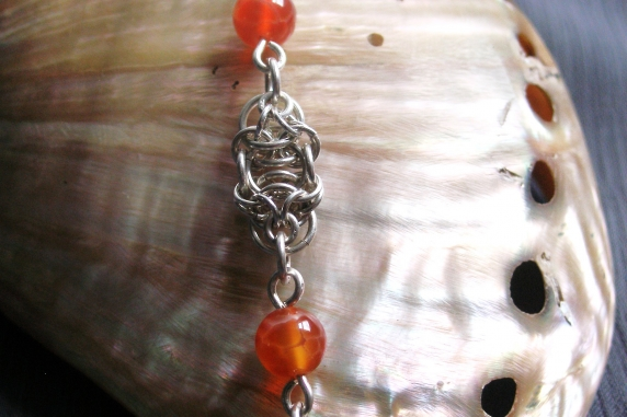 Sterling silver and Fire Agate Celtic Raindrops chainmaille bracelet
