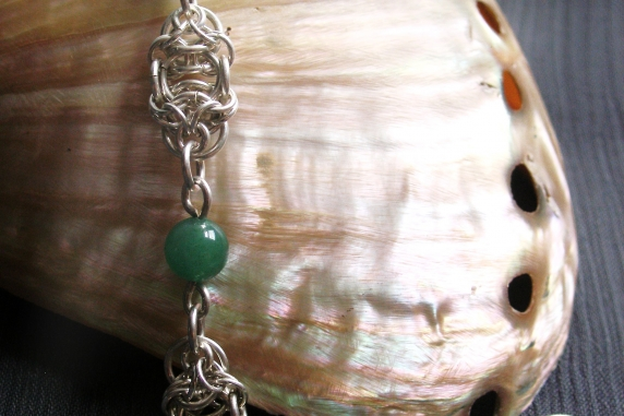 Sterling silver and Jade Celtic Raindrops chainmaille bracelet