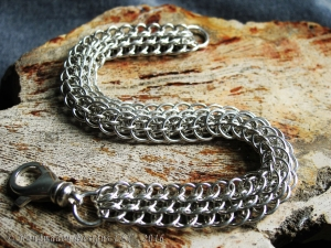 Sterling Silver Dragonscale Bias Chainmaille Bracelet