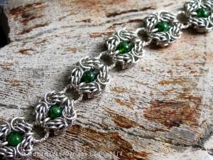 Sterling Silver, Dragondust, Chrome Diopside Trizanov bracelet