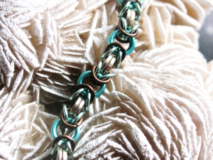 Byzantine (Bracelet)(Sterling Silver/Aqua/Seafoam/Dark Brown)