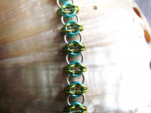 Celtic Visions (Bracelet)(Sterling Silver/Aqua/Lime Green)