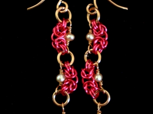 Nadine (earrings) (Hot Pink/Copper)