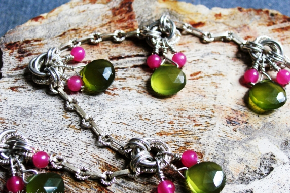 Sterling silver, Dragondust, Topaz, & Chalcedony anklet by Handmaden Designs LLC