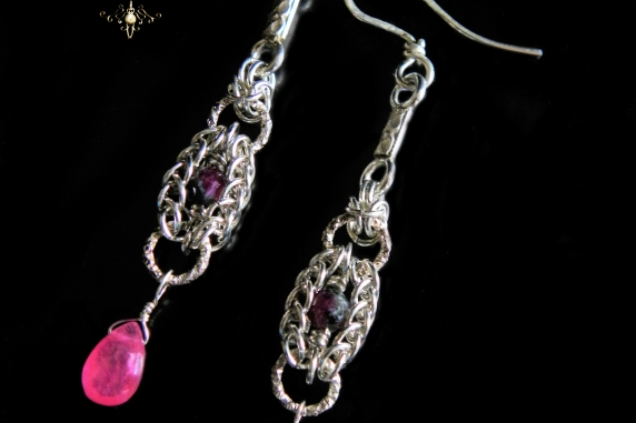 Sterling silver, Ruby Zoisite, and pink Sapphire Persianove earrings