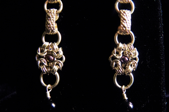 Sterling silver Victorian style chainmaille earrings - Handmaden Designs LLC