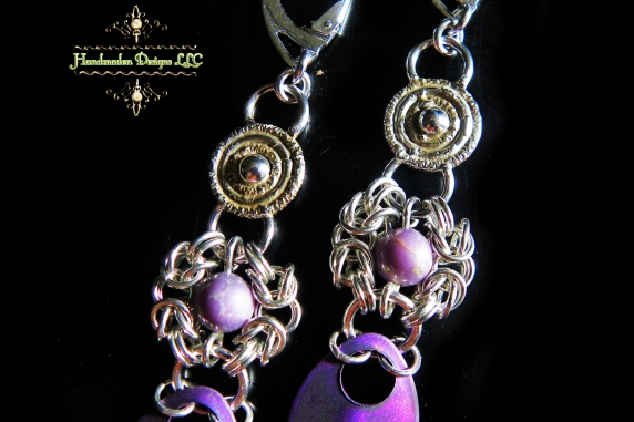 Sterling silver Romanov and Phosphosiderite earrings by Handmaden Designs LLC