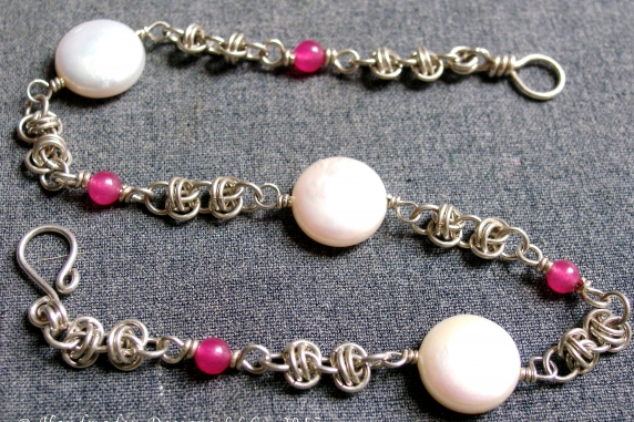 Sterling silver, pearl, and topaz Barrelweave anklet by Handmaden Designs LLC