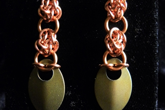 Copper and titanium scale 4 Winds Spiked earrings - Handmaden Designs LLC