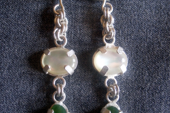 Sterling silver and Mother-of-Peral and Jade earrings