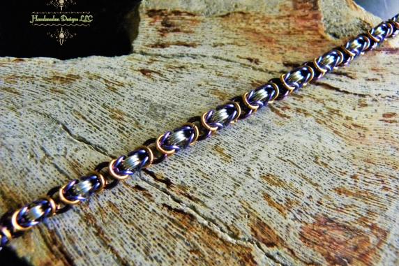 Colorful Sterling Silver Byzantine bracelet - Handmaden Designs LLC