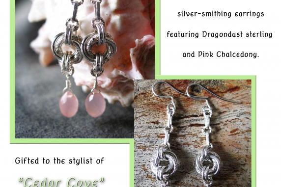 Sterling silver, Dragondust, and Chalcedony earrings by Handmaden Designs LLC
