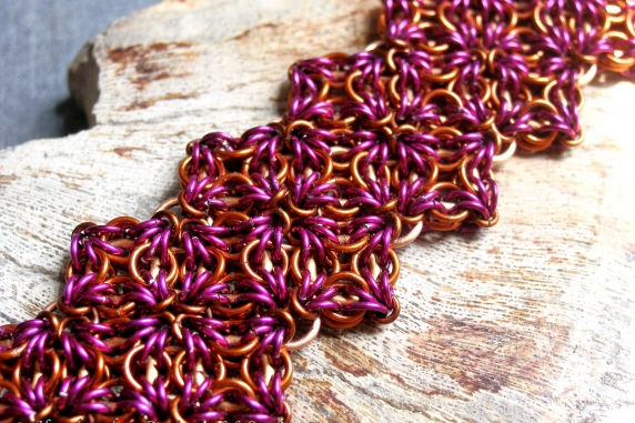 Celtic Labyrinth Axis Sheet chainmaille bracelet by Handmaden Designs LLC