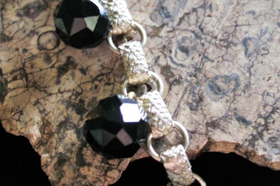 Sterling silver book chain Victorian shoe button bracelet