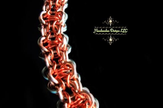 Copper and enameled copper Chelydra chainmaille bracelet - Handmaden Designs LLC