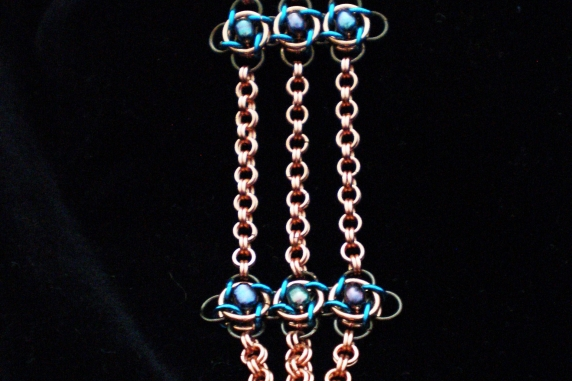Copper, enameled copper, and freshwater pearl Art Nouveau inspired chainmail set