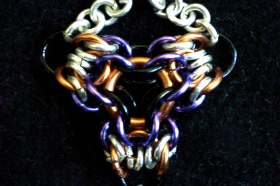 Sterling silver, copper, black and lavendar chainmaille pendant/earring set