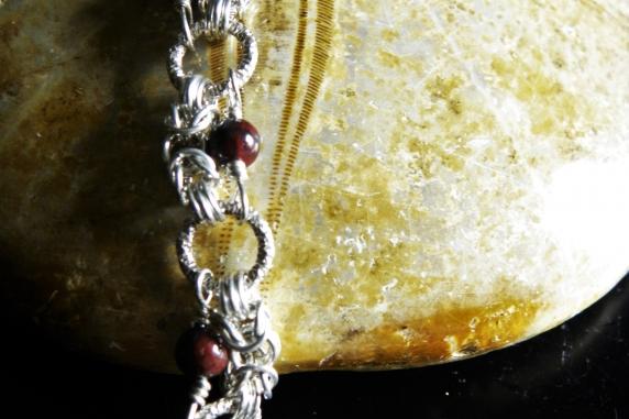 Sterling silver Red Jasper Half Romanov bracelet - Handmaden Designs LLC