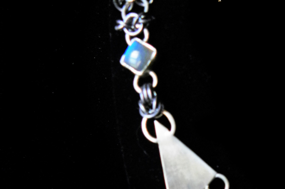 Sterling silver and tantalum Art Nouveau inspired necklace by Handmaden Designs