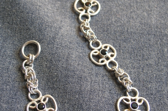 Sterling silver Black Spinel chainmaille bracelet