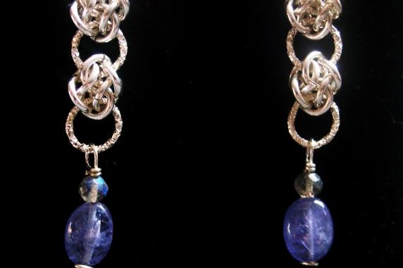 Sterling silver Labradorite and Tanzanite earrings by Handmaden Designs LLC