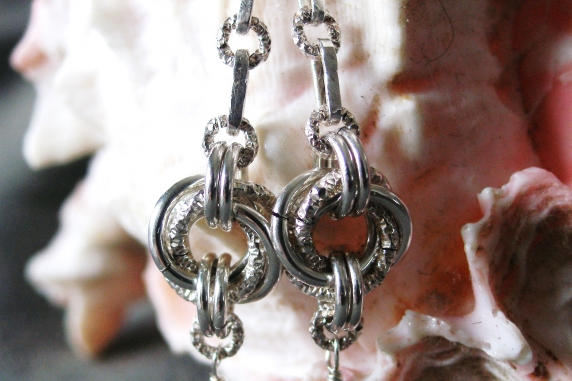 Sterling silver, Dragondust, and Chalcedony earrings by Handmaden Designs LLC