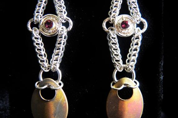 Sterling silver Half Persian 3in1 Rhodolite Garnet and scale earrings