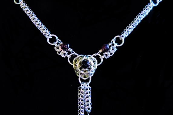 Sterling silver Victorian Edwardian style chainmaille necklace Handmaden Designs