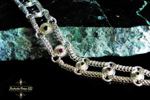 Sterling silver Rhodolite Garnet and Smokey Quartz Half Persain bracelet