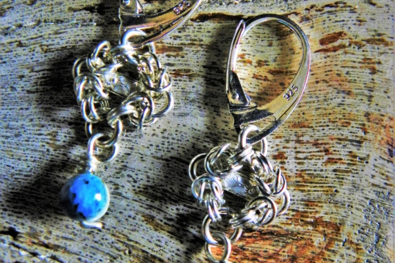 Sterling silver and K2 Granite Romanov chainmaille earrings by Handmaden Designs