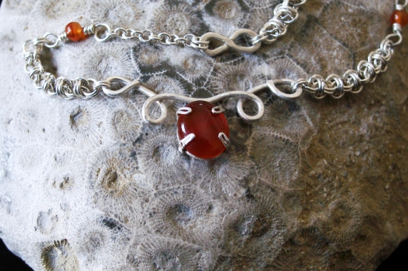 Sterling silver and Carnelian micromaille and silversmithing necklace