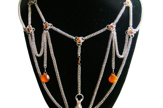 Sterling silver Edwardian inspired chainmaille statement necklace