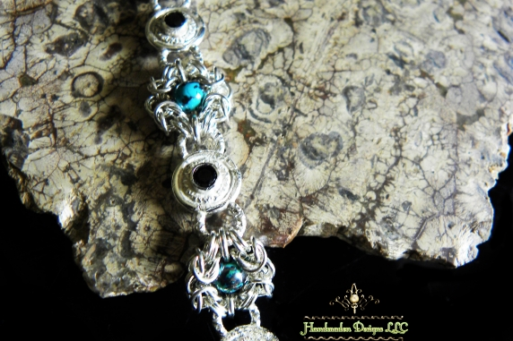 Sterling silver bracelet with Black Spinel and Shattuckite by Handmaden Designs