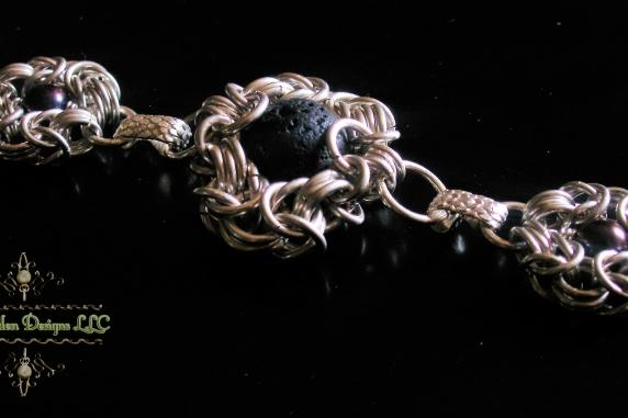 Sterling silver lava rock and pearl Romanov bracelet by Handmaden Designs LLC