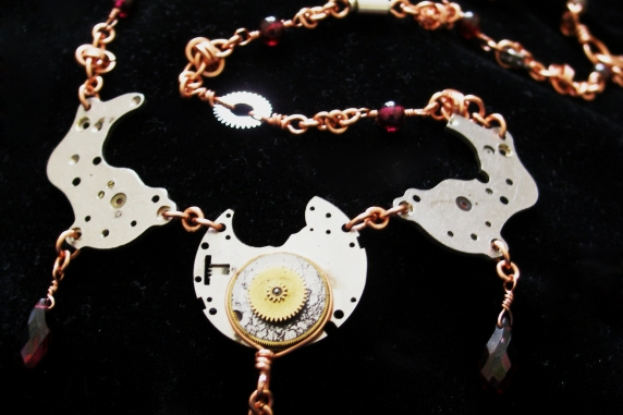 Copper, Garnet, and watch part Steampunk and Barrelweave chainmaille necklace