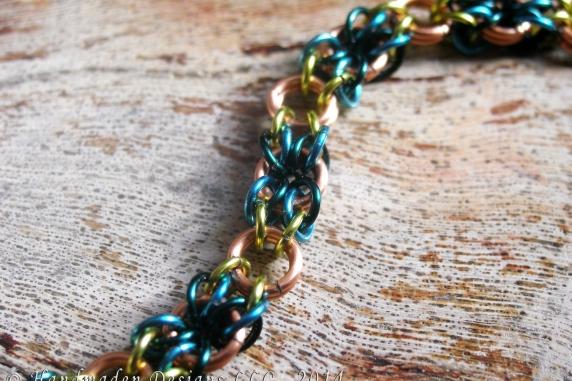 Copper, lime green, teal, and blue Snakes Eyes bracelet by Handmaden Designs LLC