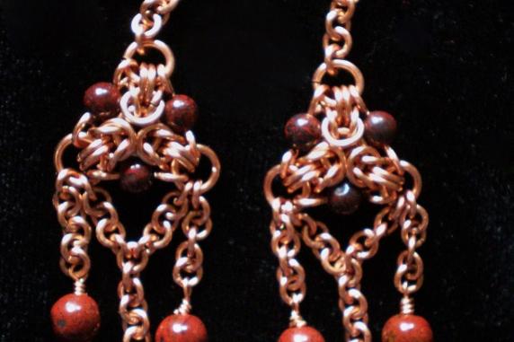 Copper, red Jasper, and Brecciated Jasper Byzantine triangle earrings