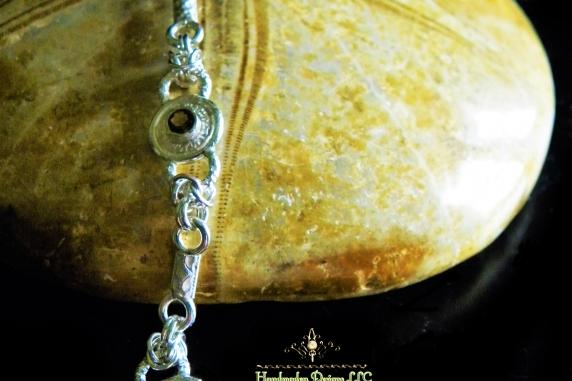 Sterling silver and Smokey Quartz Victorian style bracelet by Handmaden Designs