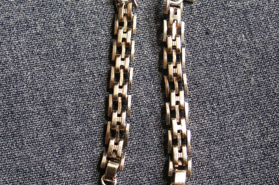 Gold-filled upcycled vintage watch chain and Black Spinel Earrings