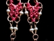 Copper, hot pink enameled copper, and freshwater pearl Inverted Romanov earrings