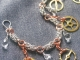 Sterling silver and copper Byzantine and Steampunk charm bracelet
