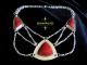 Sterling silver Art Deco Statement Necklace with Red Coral and Black Spinel
