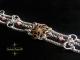 Sterling silver Half Persian 3in1 Cherry Quartz Victorian button bracelet