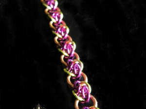 Copper and green & purple 4 Winds chainmaille bracelet - Handmaden Designs LLC