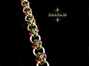 Copper and green & magenta 4 Winds chainmaille bracelet - Handmaden Designs LLC