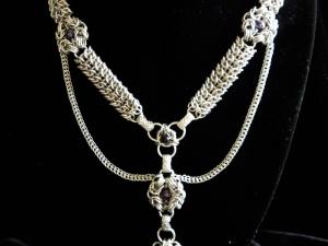 Sterling silver chainmaille statement necklace - Handmaden Designs LLC
