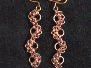 Copper and freshwater peal Stepping Stones earrings by Handmaden Designs LLC