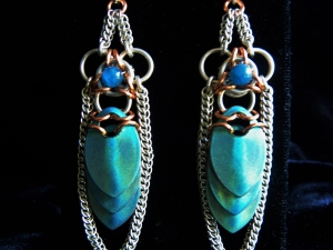 Egyptian Revival chainmaille scalemaille earrings by Handmaden Designs LLC