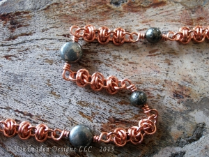 Copper and Pyrite Barrelweave chainmaille anket by Handmaden DesigsnsLLC